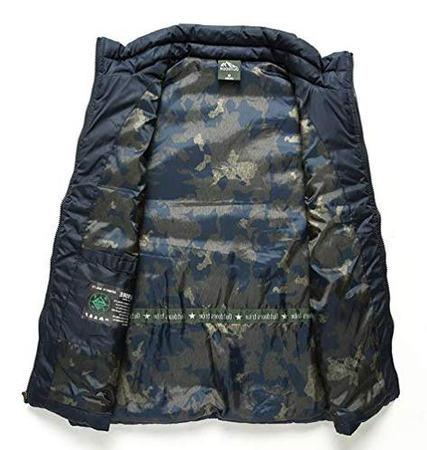 Vcansion Men's Stand Padded Vest Lightweight Jacket Coat L