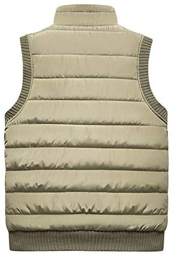 Vcansion Outdoor Casual Stand Thicken Fleece Padded Vest Vest L