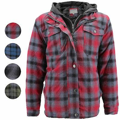 vkwear Men/'s Quilted Lined Cotton Plaid Flannel Layered Zip Up Hoodie Jacket