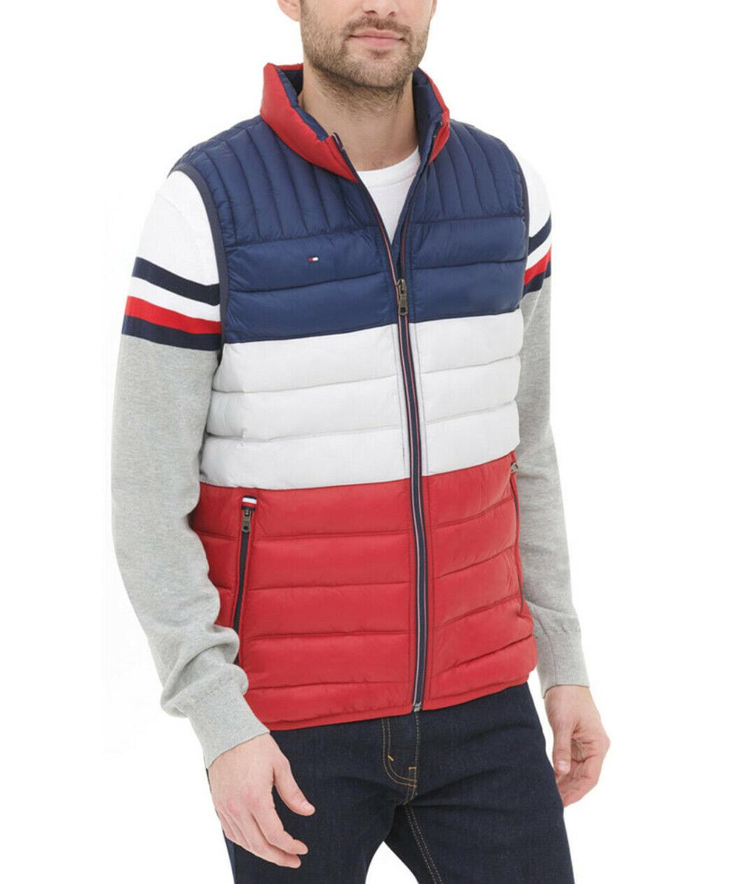 Tommy Hilfiger Men's White Blue Quilted