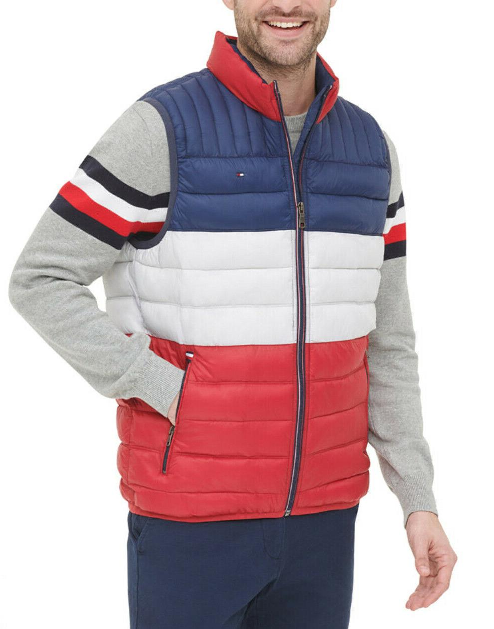 Tommy Red White Blue Colorblock Quilted Vest