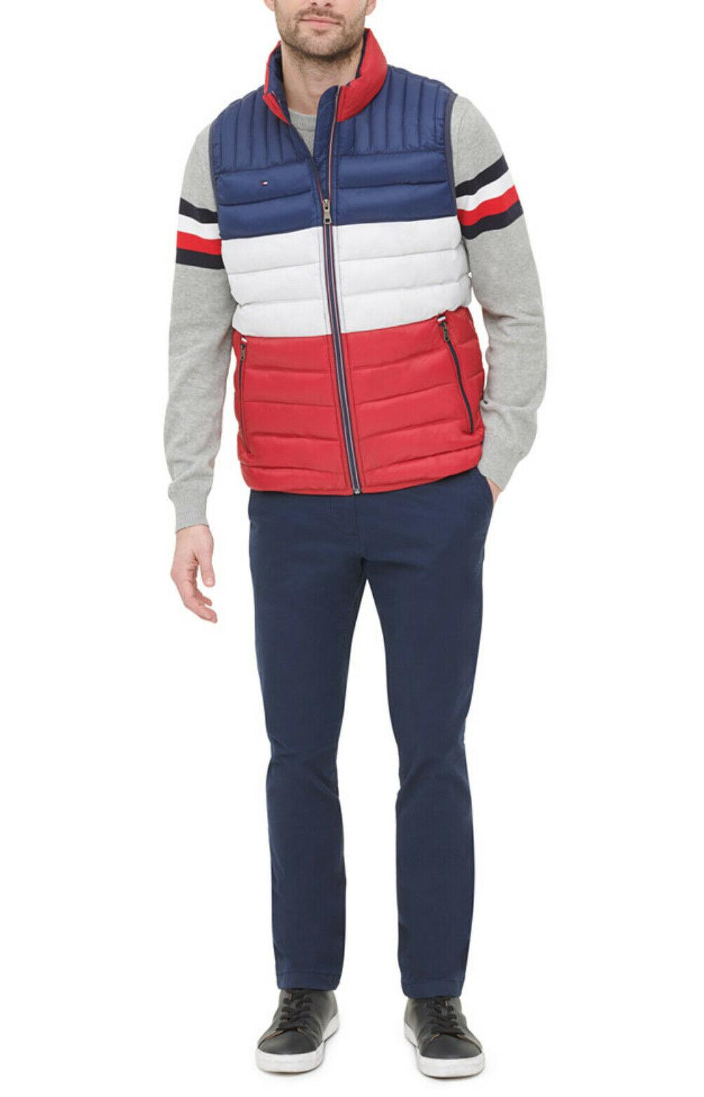 Tommy Hilfiger Red White Striped Quilted Puffer Vest $150