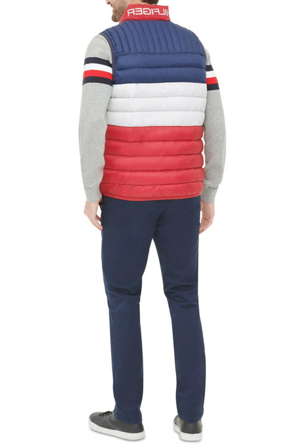 Tommy White Blue Quilted Puffer $150