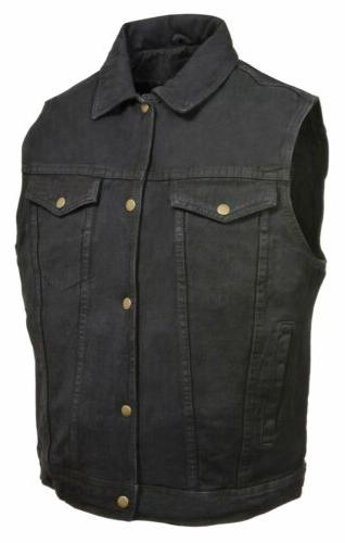 Men's Front Motorcycle Biker Denim Vest Shirt