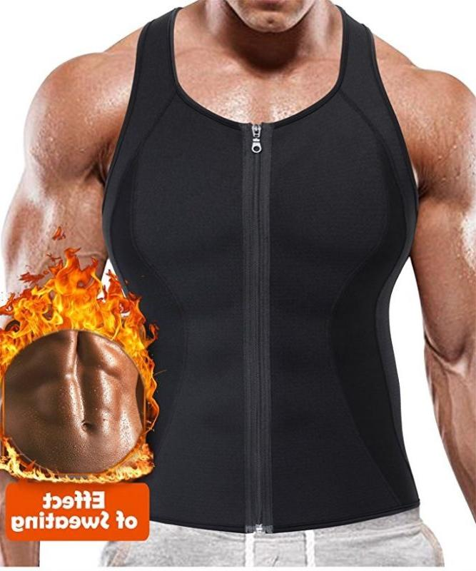 men s sweat vest body shaper zipper