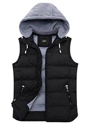 ZSHOW Men's Winter Removable Hooded Down Vest - Black -