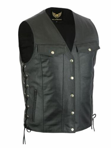 Men Side Lace Denim Style Biker Motorcycle Leather Vest Gun