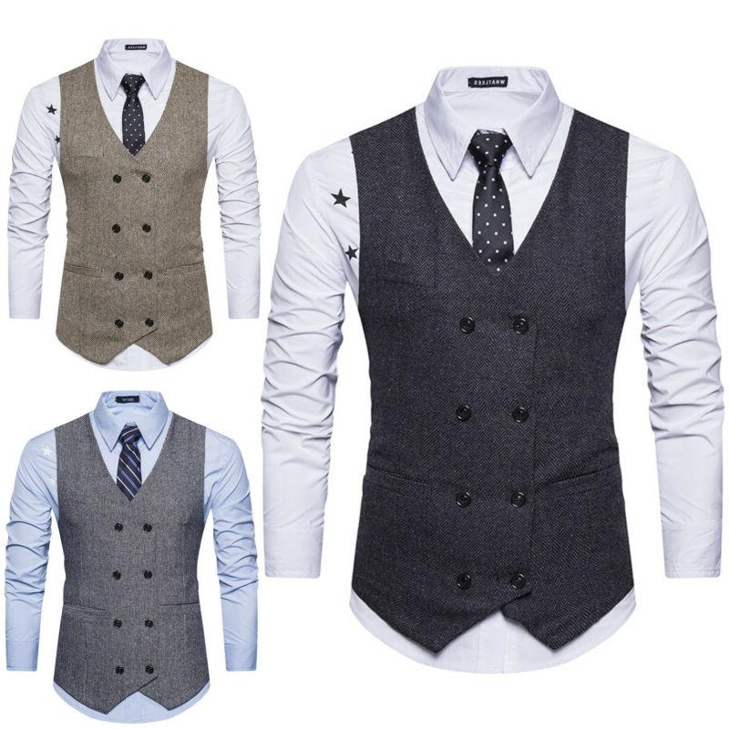Men's Botton Formal Business Slim Fit Dress Vest Suit Tuxedo