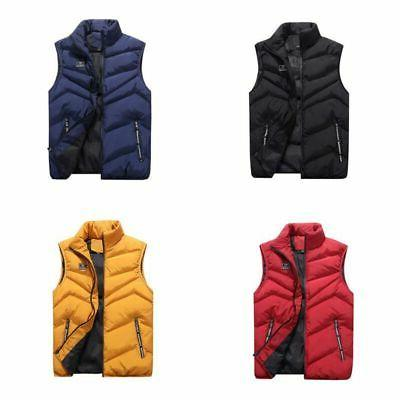 Men's Winter Zip Vest Sleeveless Puffer Warmer Outwear Padde