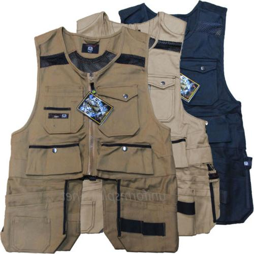 Men Work Vest Pockets Utility Vest tool pockets Pro Black, B