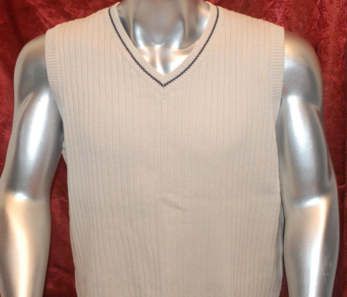 mens beige cotton vest sweater pullover sleeveless
