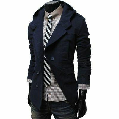 mens fashion casual double breasted trench slim