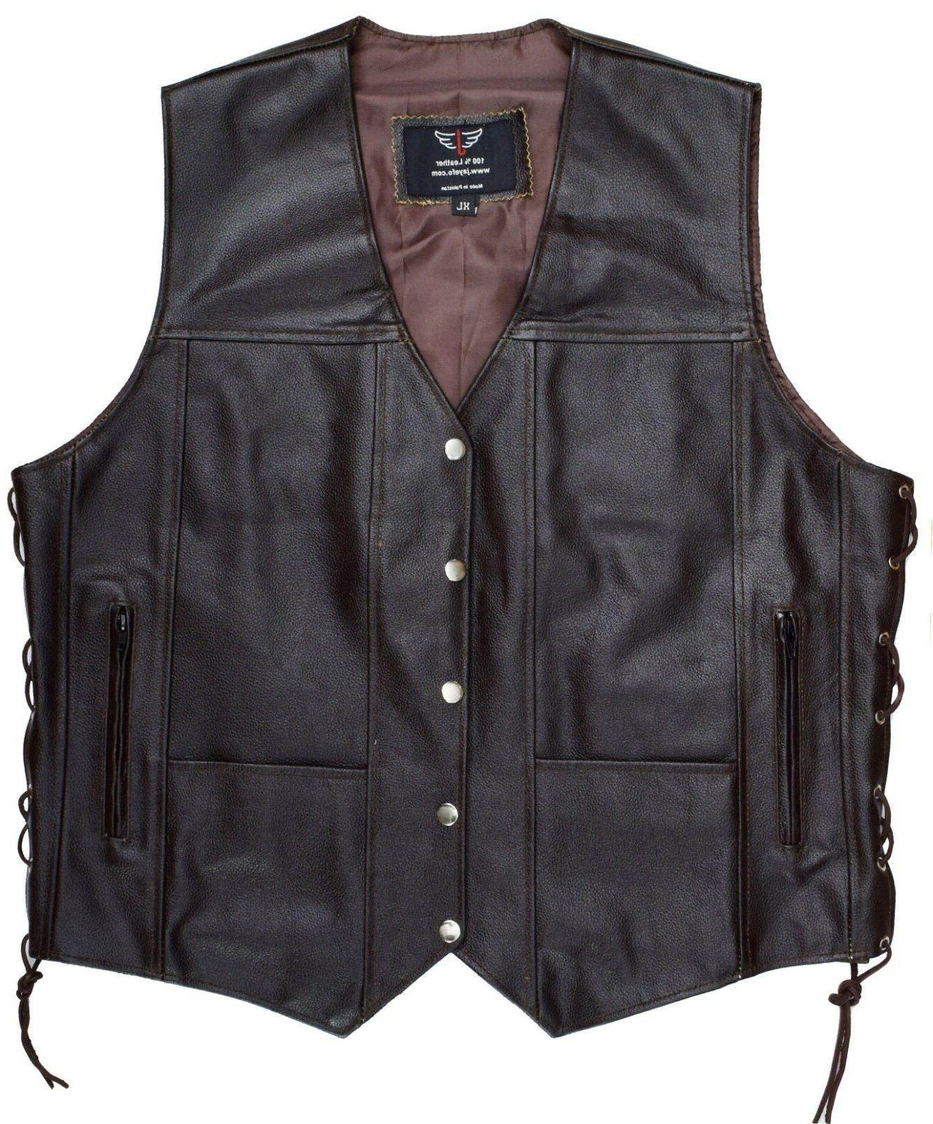 Mens 10 Pockets Vest Laces Black Size