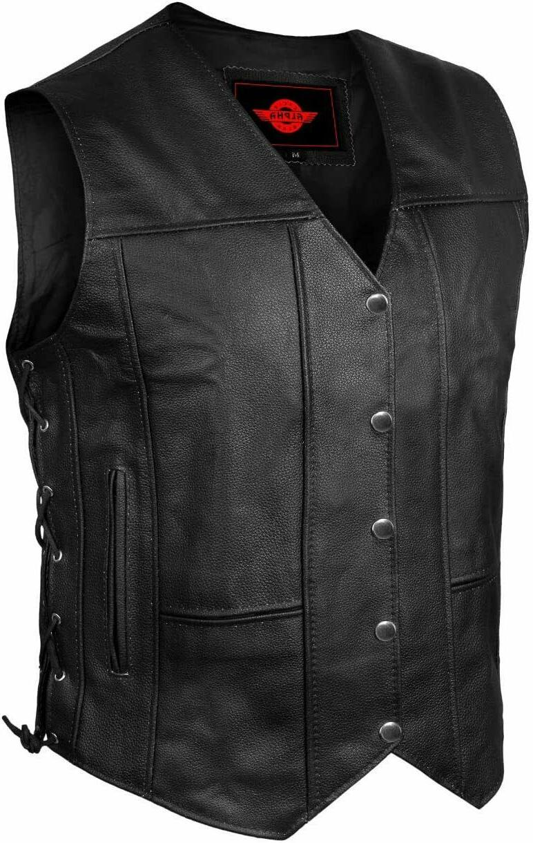 mens genuine leather 10 pockets motorcycle biker