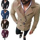 Mens Lapel Double Breasted Trench Coat Outwear Slim Jacket O