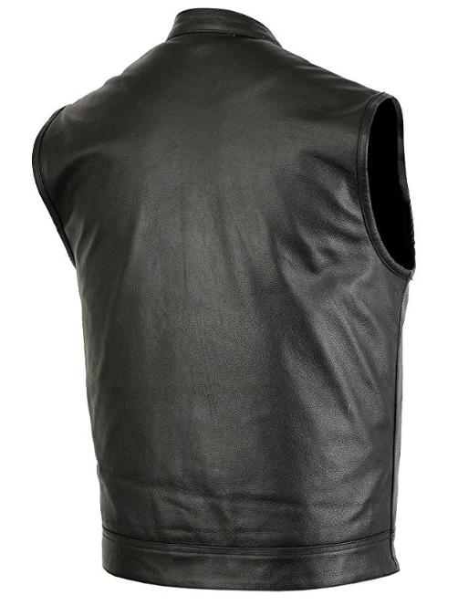 Mens Motorcycle Club Vest Solid Black