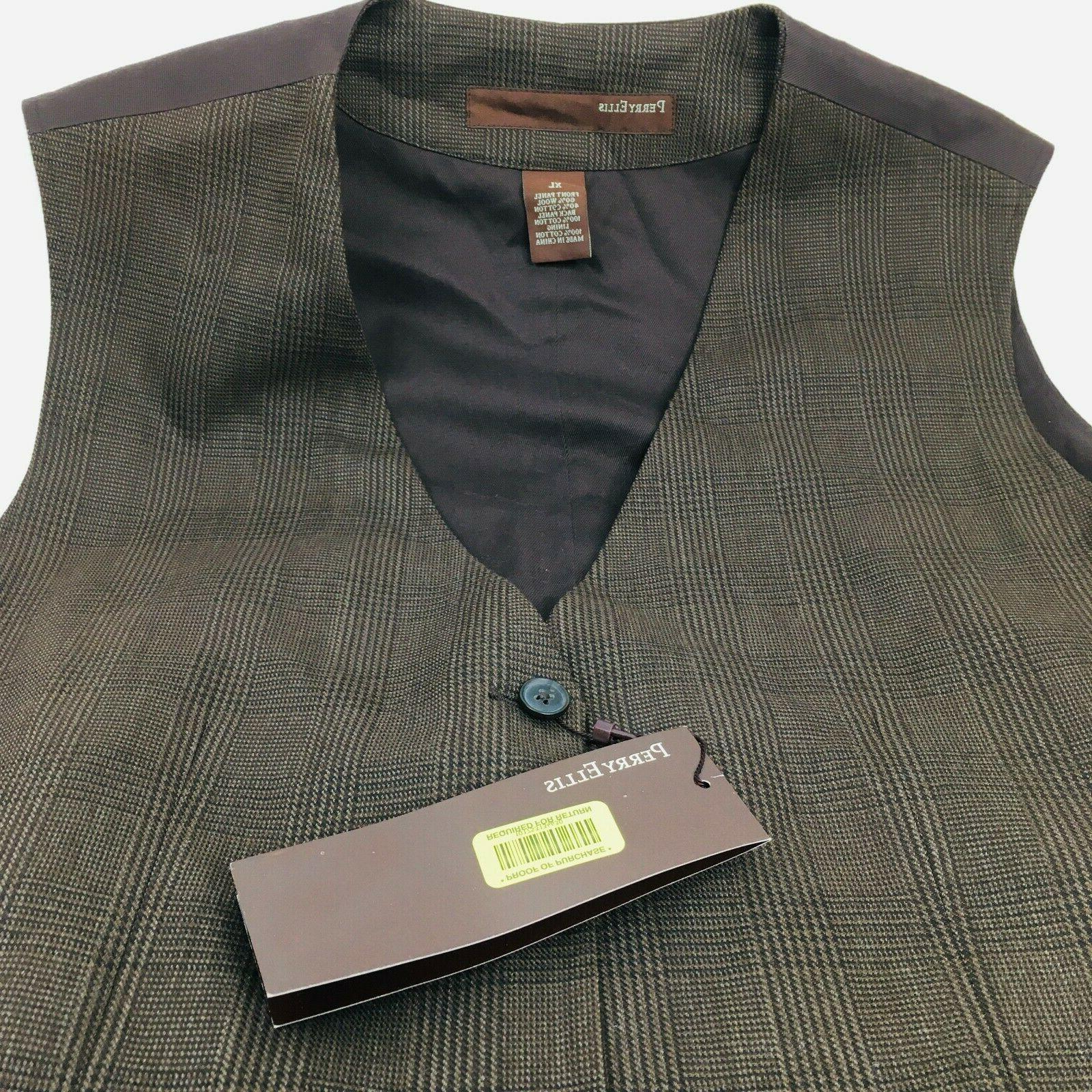 Perry Ellis Vest XL Stripe 5 Button
