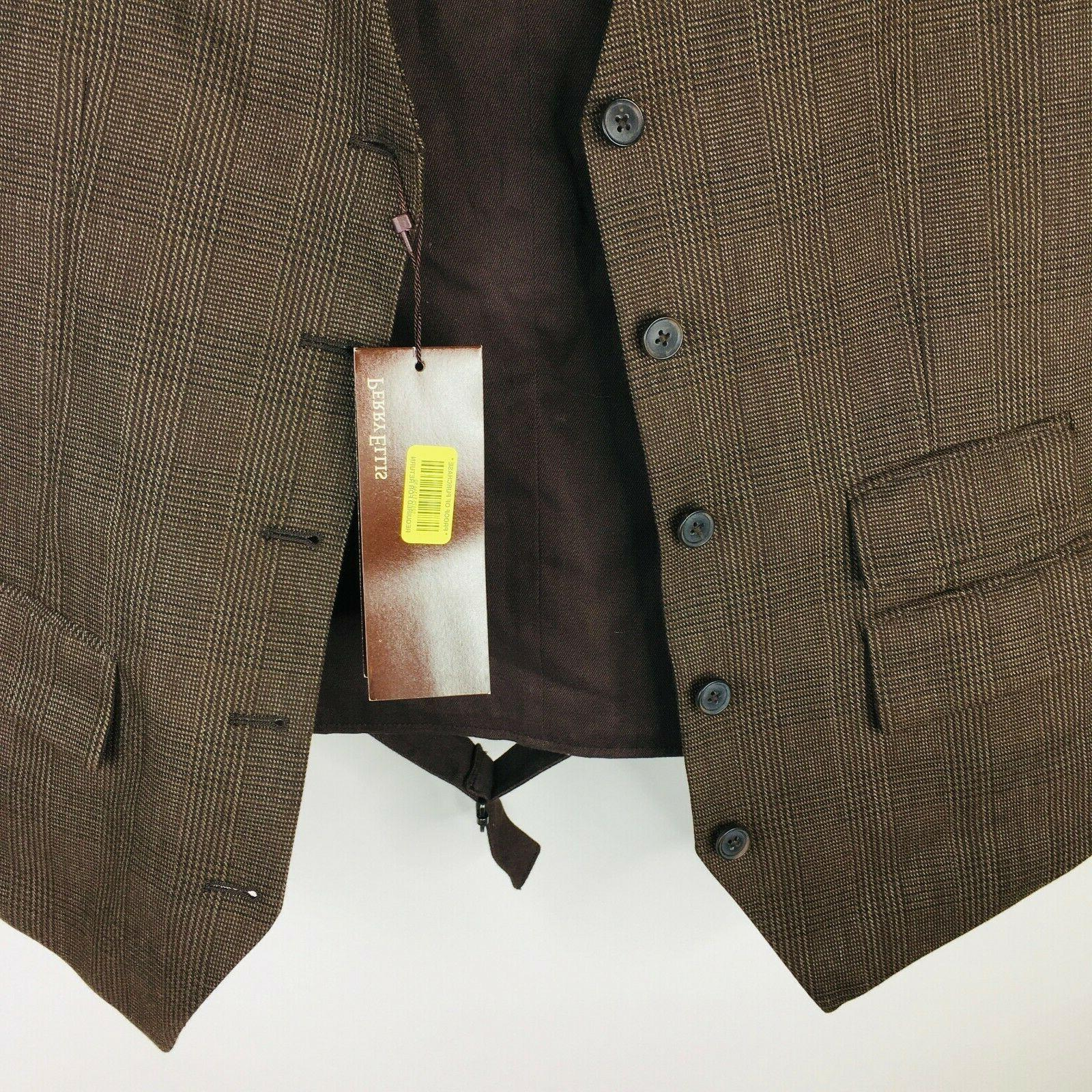 Perry Vest XL Stripe Chocolate 5 Button