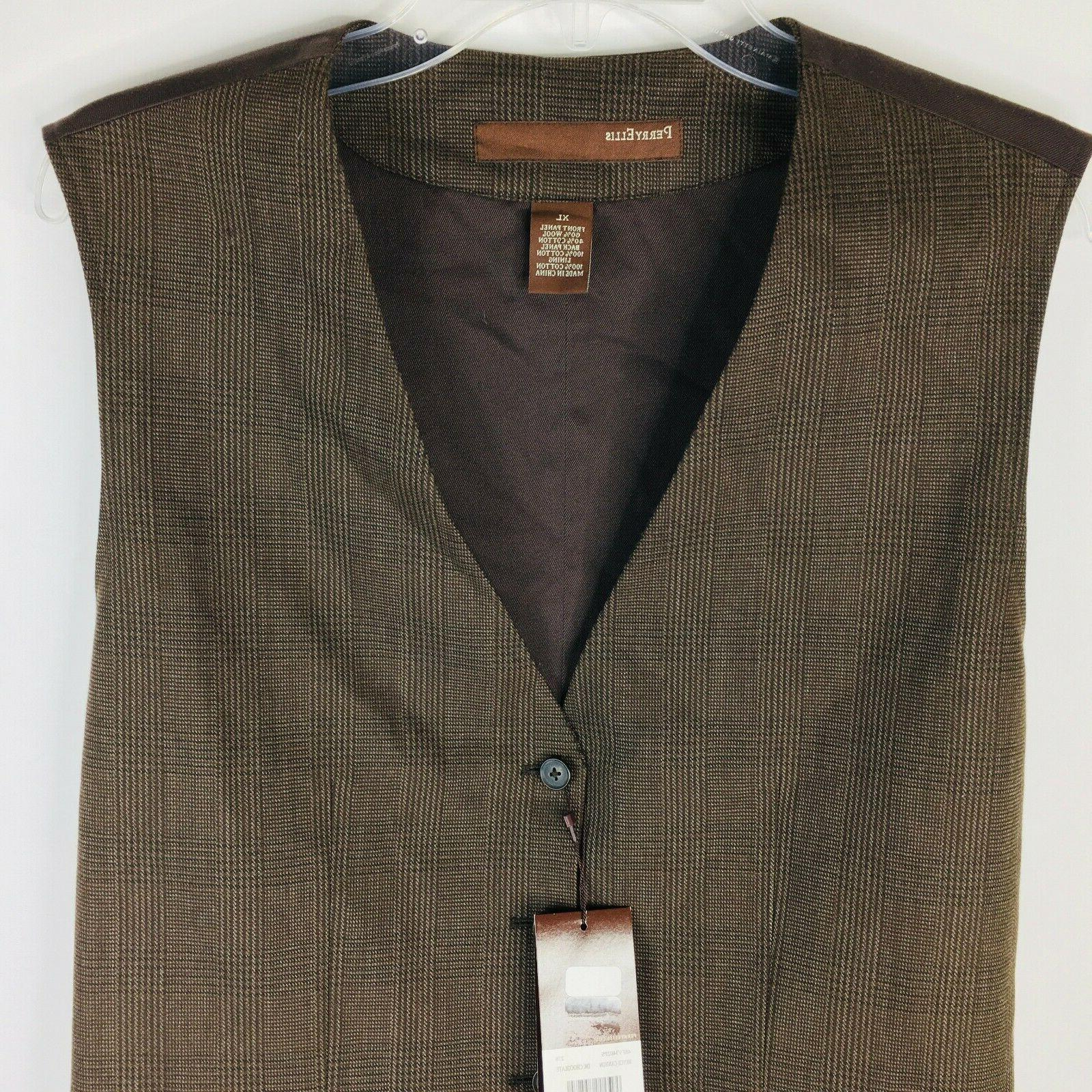 Perry Ellis Vest XL Stripe Dark Button Pocket