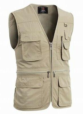H2H NEW Beige Mens Size XL Full-Zip Utility Hunting Sports V