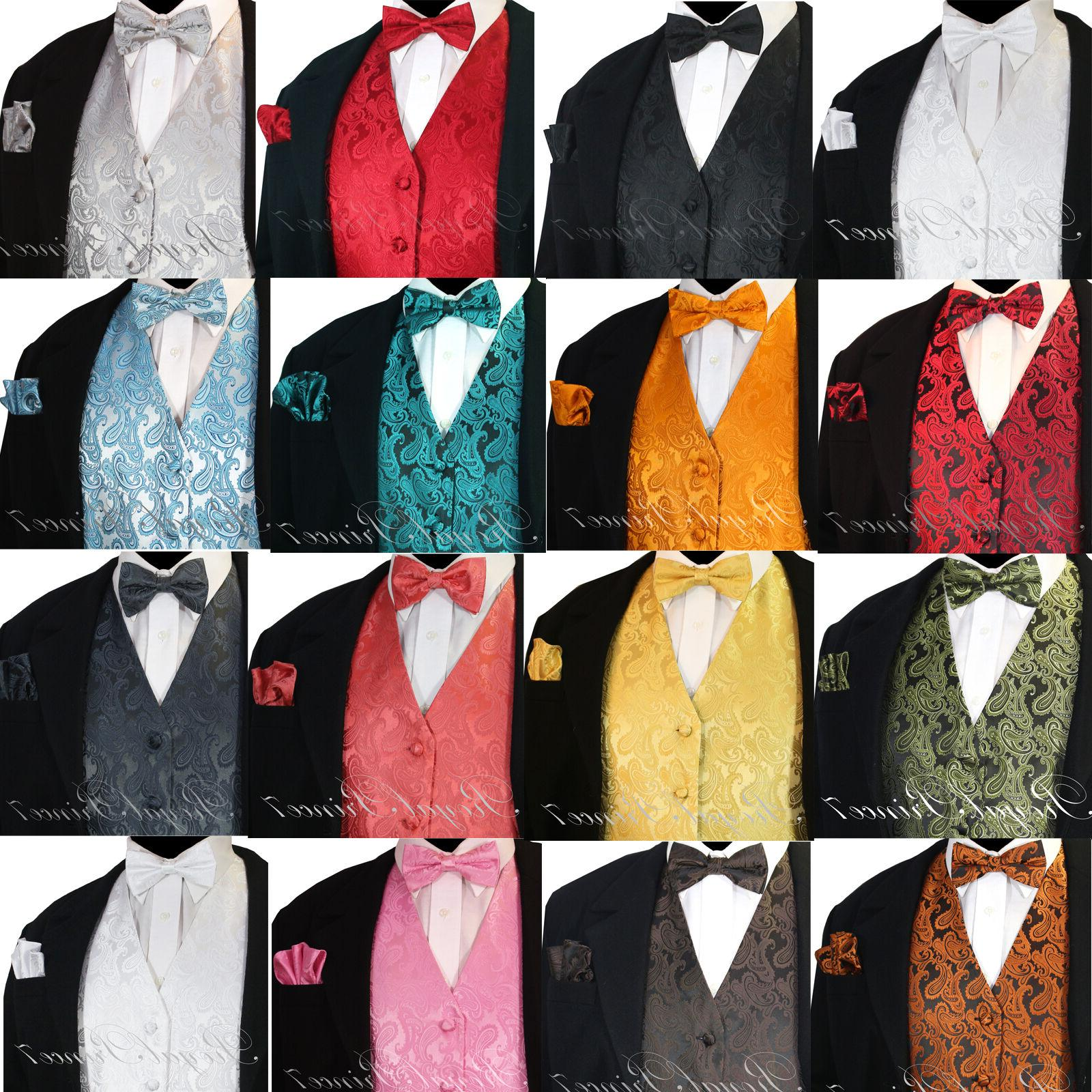 NEW Men's PAISLEY Design Dress Vest and Bow Tie & Hankie Set