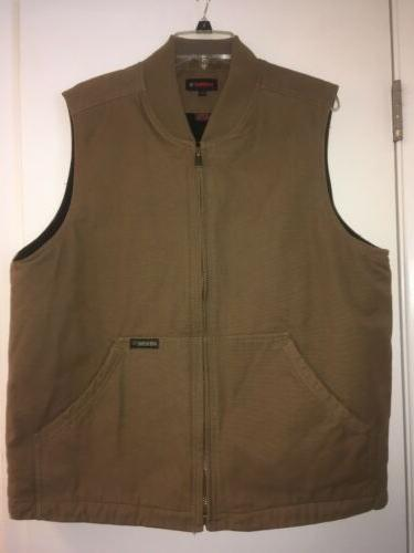 NWOT-Wolverine Men's Finley Work Vest Tan Cotton Canvas Qu