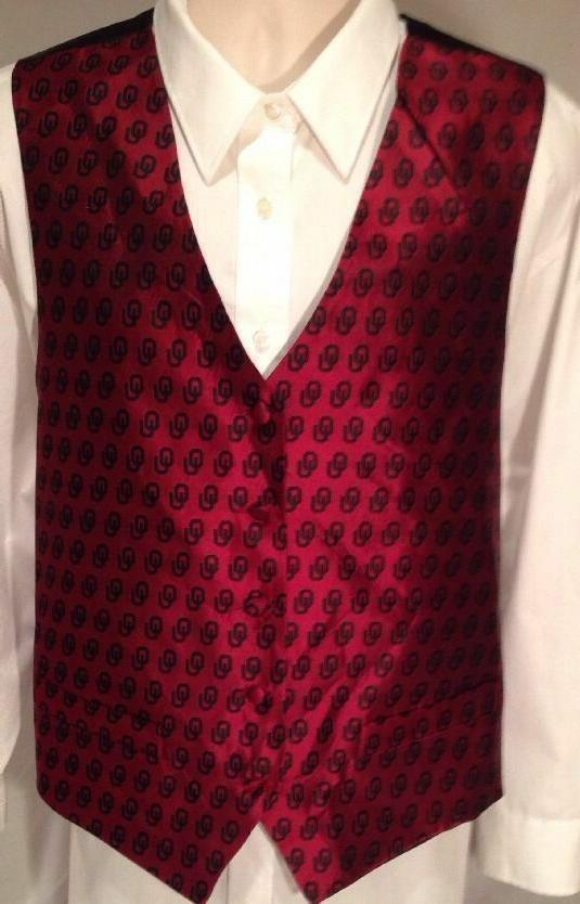 OU Oklahoma Sooners Mens Silk Vest NWT Choose Size and Color