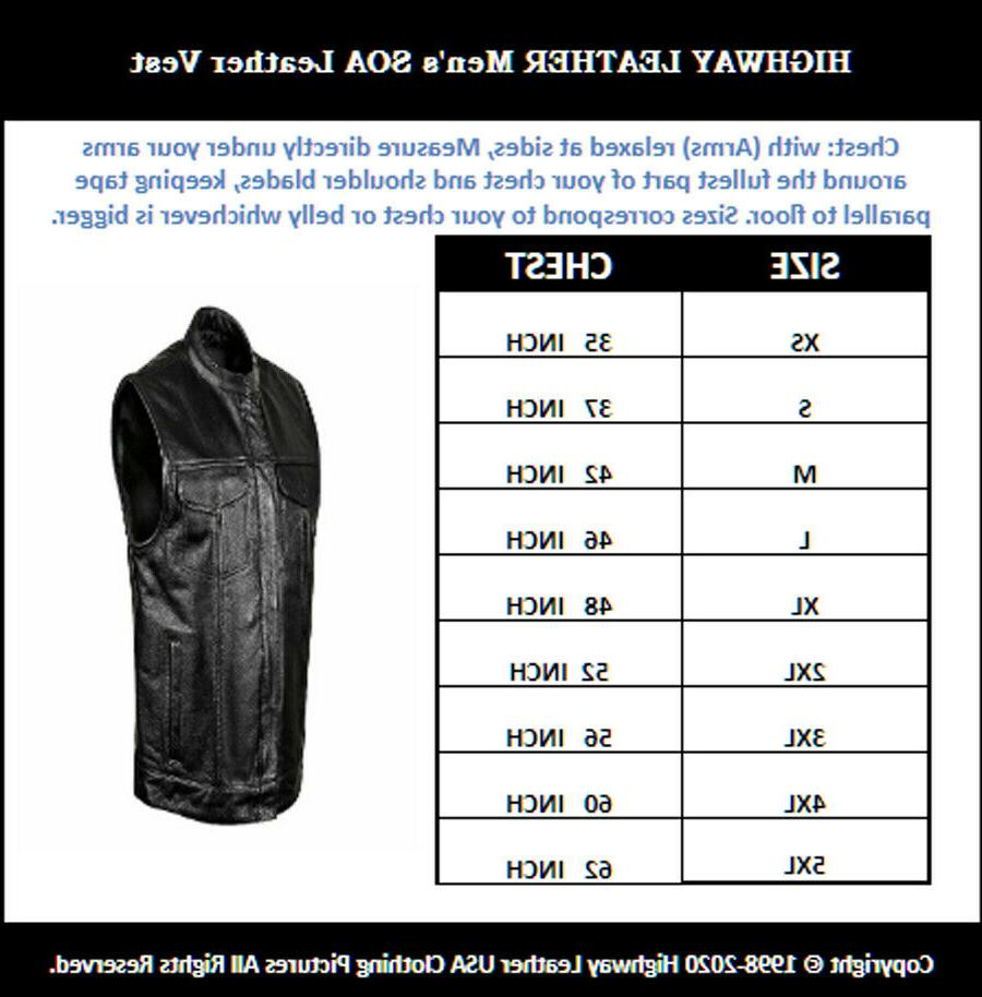 SOA Men's Leather Vest Anarchy Motorcycle Concealed Outlaws