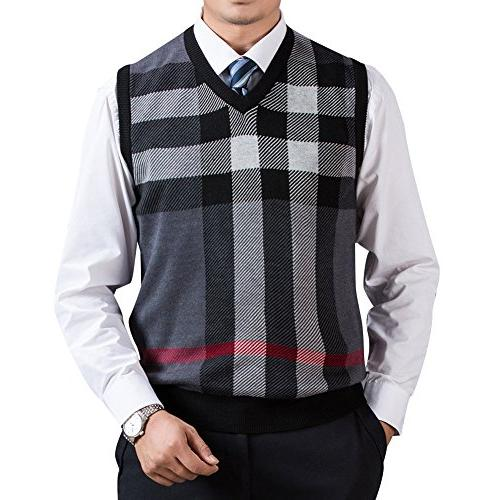 v neck plaid knitwear sweater