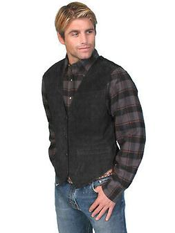 Scully Leather Mens Western Boar Suede Snap Front Vest Black