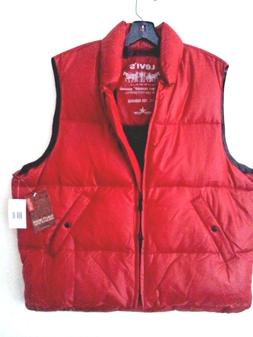 Levi's Men Down Puffer Vest Red Snaps XL NWT
