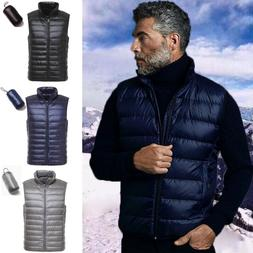Men 90% Duck Down Jacket Vest Packable Lightweight Stand Col