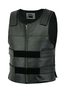 Men Bullet Proof style Leather Motorcycle Vest for bikers Ta