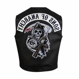 Men Motorcycle Sons of Anarchy Biker Club Real Leather Vest