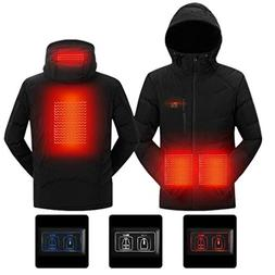 SnowWolf Men Outdoor USB Heated Hooded Jacket Double Control