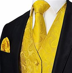 Brand Q Men's 3pc Paisley Vest Set-Yellow Gold-XS