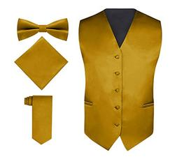 Men's 4 Piece Vest Set, With Bow Tie, Neck Tie & Pocket Hank