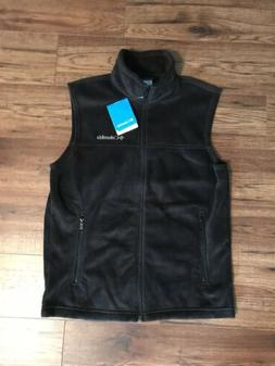 Men's Black Columbia Flattop Ridge Fleece Vest Size Small Ne