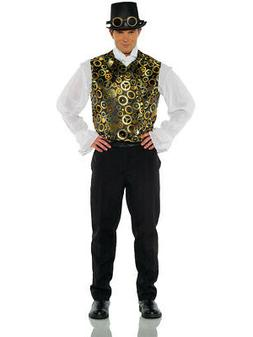 Men's Black Steampunk Vest With Gold Gears Costume Accessory