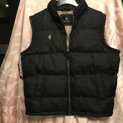 Men's Black Vest Puffer Vest Inner Sherpa Collar Large U. S.