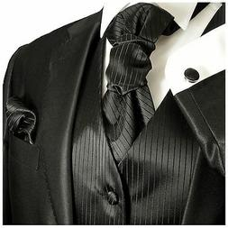 Men's Black Wedding Tuxedo Vest Set with Necktie, Cravat and