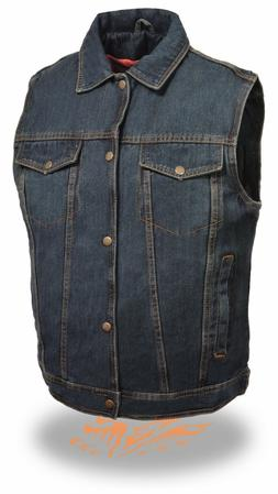 Men's Blue Denim Vest w/ Snap Front Closure, Shirt Style Col