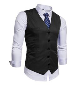 AOYOG Men's Business Suit Vests Waistcoat Slim Fit for Suit