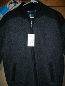 Men's classic gray zip jacket NWTplaid fleece lined Vcansion