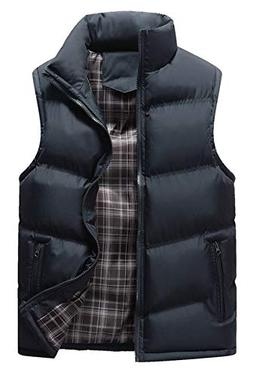 HOWON Men's Classic Sleeveless Stand Collar Quilted Puffer D