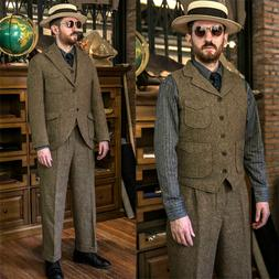 Men's Coffee Herringbone Tweed Suits Hunting Leisure/Sport S