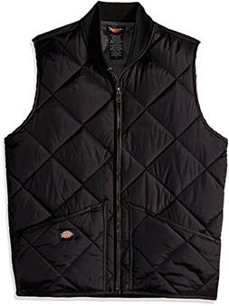 Dickies Men's Diamond Quilted Water Resistant Vest, Black, S