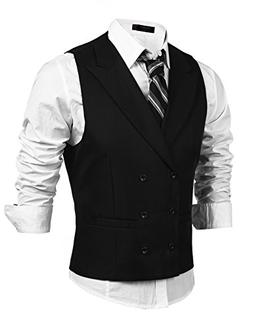 Coofandy Men's Double Breasted Classic Formal Waistcoat Slim