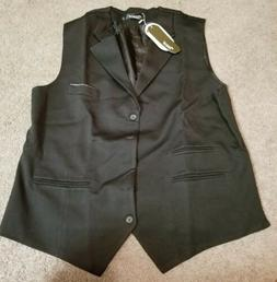 Zicac Men's Dress Vest, 4 button, Black, XXXXL