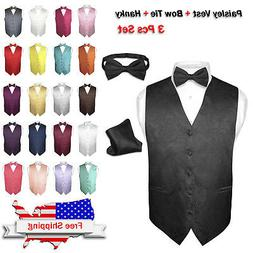 8b99150f60b2 Men's Dress VEST Bow Tie Hankie Set PAISLEY